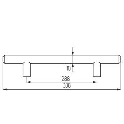 Ручка-рейлинг d=10 mm 288, мат.хром Чертеж