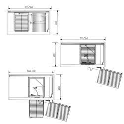 Волшебный уголок фасад 450 мм Compagnucci, серый с антискользящим покрытием правый без крепл. фасада Установочные размеры