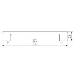 Ручка-скоба B21-320, хром+черный Чертеж