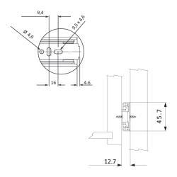 Шариковые направляющие полного выдвижения  Push to Open FGV 500 мм H=45мм  Установочные размеры
