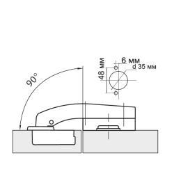 Петля угловая 90° Clip-on  с доводчиком Схема установки