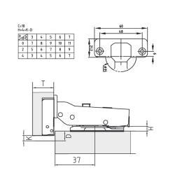 Петля FGV полунакладная Integra 2-Ways с доводчиком Схема установки