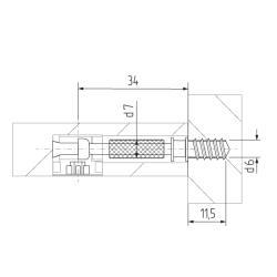 Шток эксцентрика 8х34  (саморез) FGV Италия  Схема установки