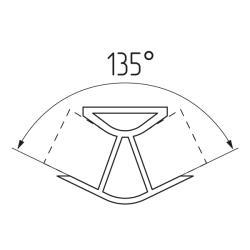 Соединение цоколя 135°(универсальное) 100мм, пластик, алюминий гладкий Чертеж