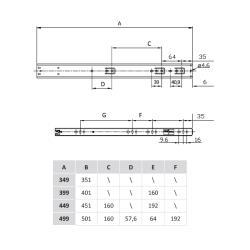 Шариковые направляющие полного выдвижения FGV 350 мм H=45мм с доводчиком (C735XC0) Присадочные размеры
