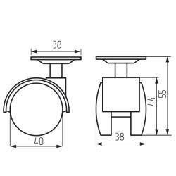 Колесная поворотная опора с площадкой d=40, 38х38х1,2 с тормозом Чертеж