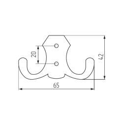 Крючок H5505E, 2-х рожковый, матовый хром Чертеж