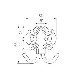 Крючок-вешалка 2-х рожковый КМ-4 а/м бронза Чертеж