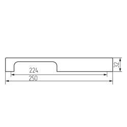 Ручка-скоба 47-224, матовый хром Чертеж