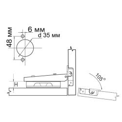Петля FGV накладная Omnia  2-Ways с доводчиком Схема установки