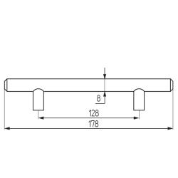 Ручка-рейлинг d=8 mm 128, мат.хром Чертеж