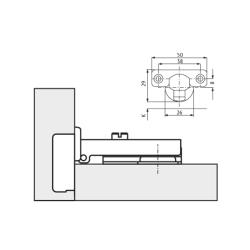 Петля FGV QS Mini 105° Slide-on, накладная  Схема установки
