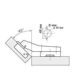 Петля угловая 45° Clip-on  с доводчиком Схема установки