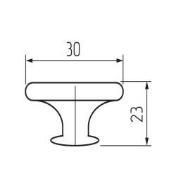 Ручка-кнопка H76, матовый никель Чертеж
