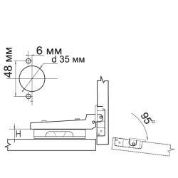 Петля полунакладная 91370.052 Clip-on  с доводчиком Схема установки