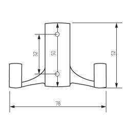 Крючок R17 со скрытым креплением, 2-х рожковый, никель матовый Чертеж
