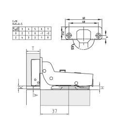 Петля FGV вкладная Integra 2-Ways с доводчиком Схема установки