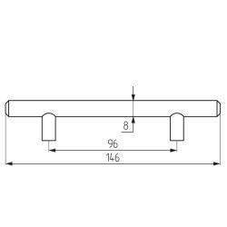 Ручка-рейлинг d=8 mm 096, мат.хром Чертеж