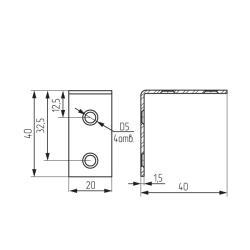 Уголок СТ.128 40х40х16мм, толщина 1,8мм Чертеж