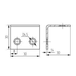 Уголок 30х30х30 ( Россия )  - аналог  3714  (1,5 мм) Чертеж