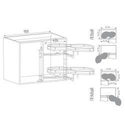 Волшебный уголок Unihopper  с дов., в ящик 900 мм, фасад 450 мм, с противоск.покр., серый, правый Установочные размеры