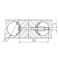 Стяжка для соединения столешниц, 150мм Установочные размеры