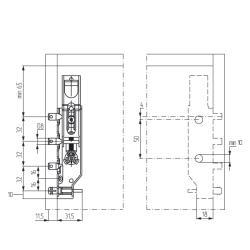 Подвеска скрытая 818.32.Z1.E8.SX для верхней базы (60кг), левая L, CAMAR Присадочные размеры