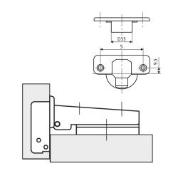 Петля FGV MS Slide-On 110° накладная  Схема установки