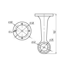 Штангодержатель на ножке d=25мм нерегулируемый глухой Z-012-2,хром К Чертеж