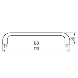 Ручка-скоба L450-160  алюминий Чертеж