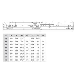 Шариковые направляющие полного выдвижения 400 мм Н=35 мм Присадочные размеры