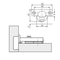 Мини-петля FGV накладная 51AGH5050005000 Integra slowmotion со встроенным доводчиком (90/110) Схема установки