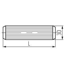 Шкант 8х30мм с насечкой, (тип 3) Чертеж
