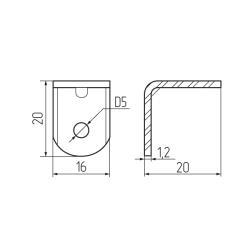Уголок крепежный венге с пластиковой крышкой (4)  Чертеж