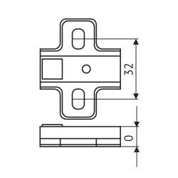Площадка FGV H=0 Integra 2-Ways под саморез Чертеж