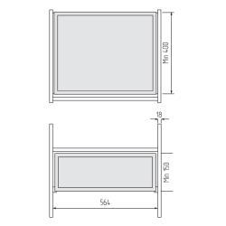 Выдвижной сейф с тачскрином 564*400*150мм, Unihopper, в базу 600мм, Moka Установочные размеры