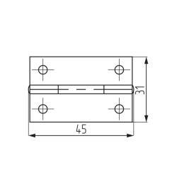 Петля карточная 45х31, латунь (50) Чертеж