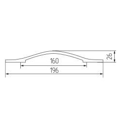 Ручка-скоба H76-160, чёрная Чертеж