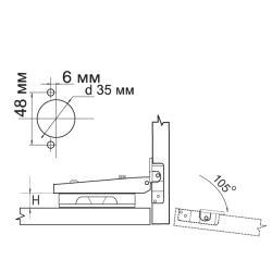 Петля накладная 91370.022 Clip-on  с доводчиком Схема установки
