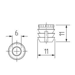 Присадка разжимная пластиковая L-11мм. Ф 11хМ6  (кр.коричневая) Чертеж