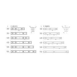 Шариковые направляющие полного выдвижения 550 мм Н=45 1,0x1,0x1,0мм Присадочные размеры