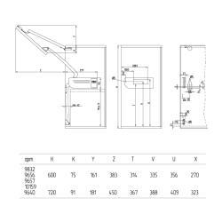 Подъемный механизм складного типа FGV (59.0VSP.A9.A30.0000)AERO SPLIT A30 H600 (8.1-10KG)  Схема установки