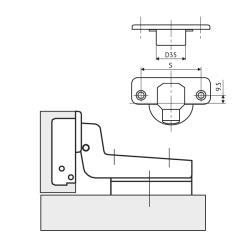 Петля 52мм FGV MS Slide-On 110° вкладная Схема установки