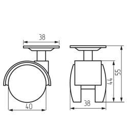 Колесная поворотная опора с площадкой d=40, 38х38х1,2мм Чертеж
