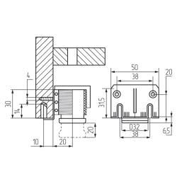 Регулятор накладной с пластиковым подпятником 30000Z232A2 Италия Схема установки