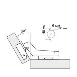 Петля угловая 30° Clip-on  с доводчиком Схема установки
