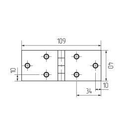 Петля карточная 109х40, цинк (HZN5040) Чертеж