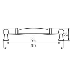Ручка-скоба L1946-MLK-1-96, керамика Чертеж