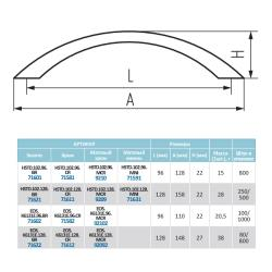 Ручка-скоба L102-128 (OH-30-128), хром Чертеж