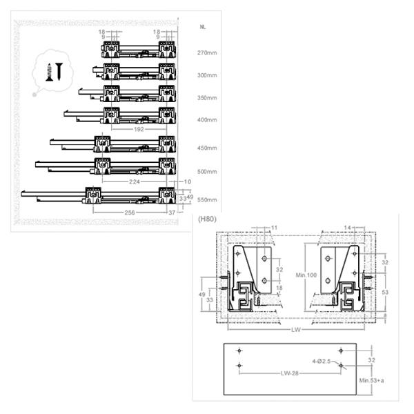 UNIHOPPER MENTAL BOX, схемы присадки задней стенки ящика и стенок тумбы.